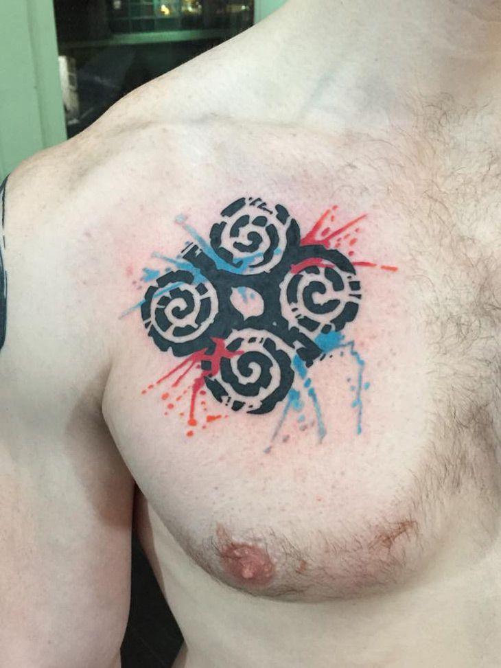 http://tattooideas247.com/dwennimmen-chest-tattoo/ Dwennimmen Chest Tattoo #Blue, #Chest, #Dwennimmen, #Humility, #NYCTattooists, #RamsHorns, #Red, #Strength, #WhiteRabbitTattoo