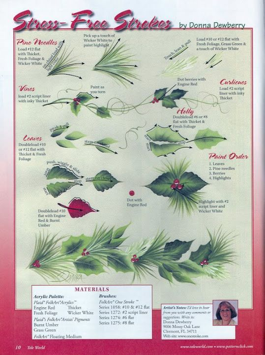 Donna Dewberry holly and pine needles step-by-step.