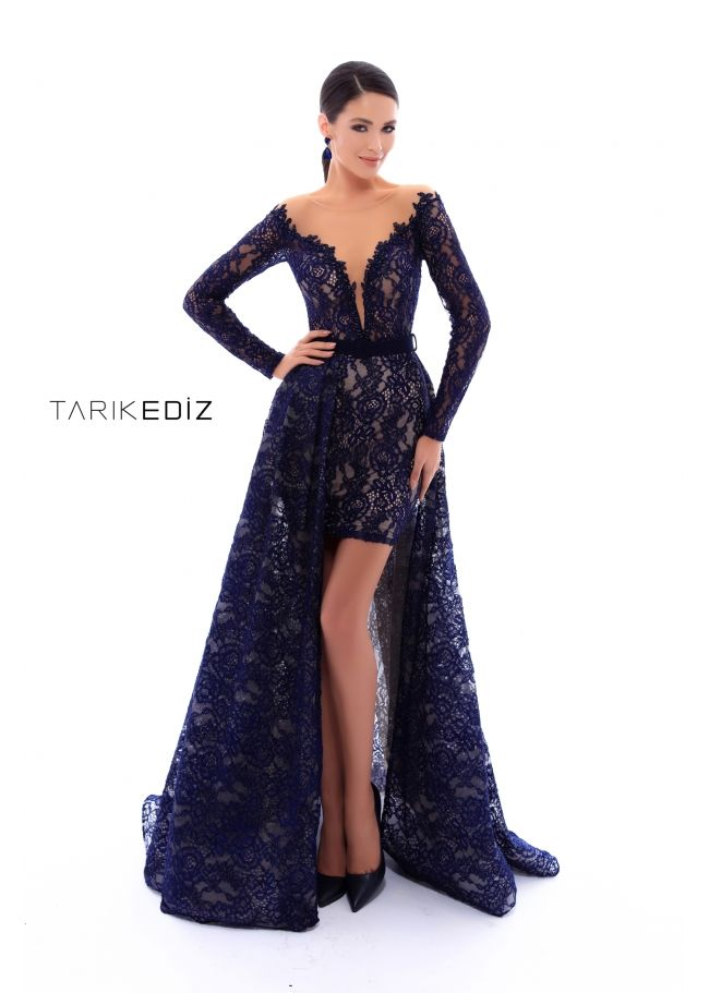 6fb416dffefe Tarik Ediz- Spring Summer 2018 Evening Collection Style #93416 - Long  sleeved lace gown.