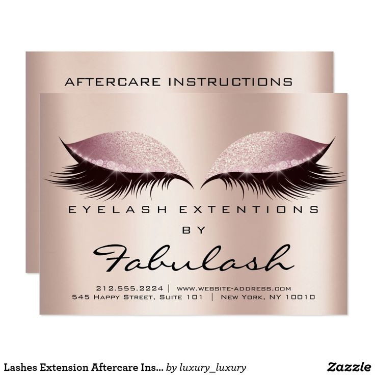 Lashes Extension Aftercare Instructions SPA Pink Card