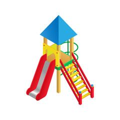 Vector illustration isometric playground slide. Playground childrens slide on white background.  Flat 3d isometric high quality playground icon.