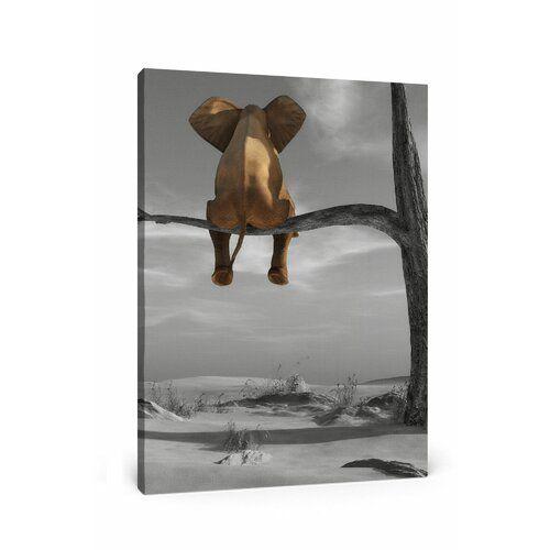 East Urban Home Elephant on a branch Art Print on Canvas   – Wayfair UK