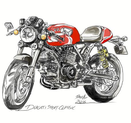 Dave Hendroff Ducati Sport Classic Red Sketch on Archival Paper