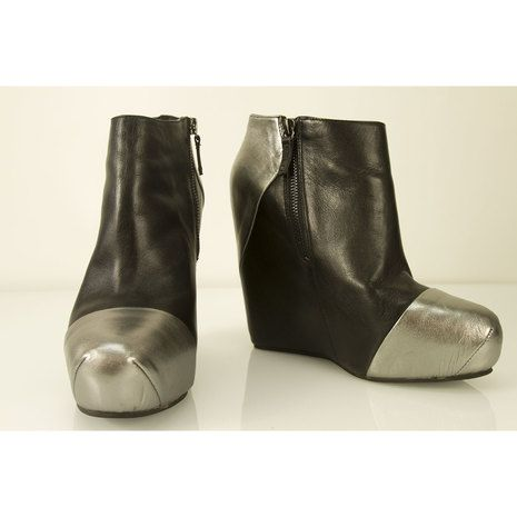 Pierre Balmain Black Leather & Silver Wedge platform Ankle Boot Booties Shoes 40