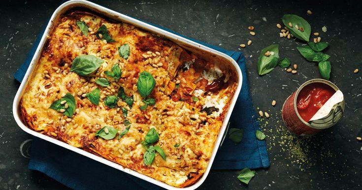 Vegetarische lasagne met spinazie en pijnboompitten | Recept Santa Maria