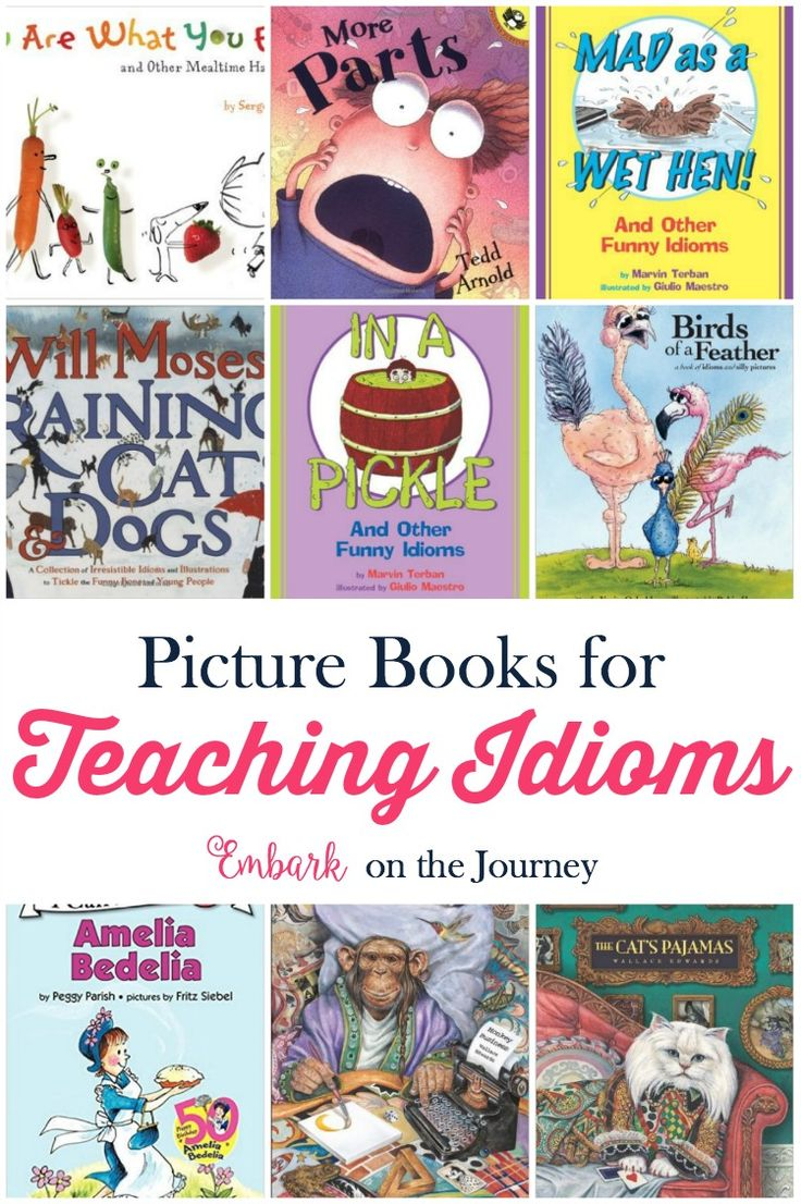 Picture books bring academic lessons to life. Use this list (and my free printable mini-pack)  to further illustrate idioms in your homeschool and classroom lessons. | embarkonthejourney.com