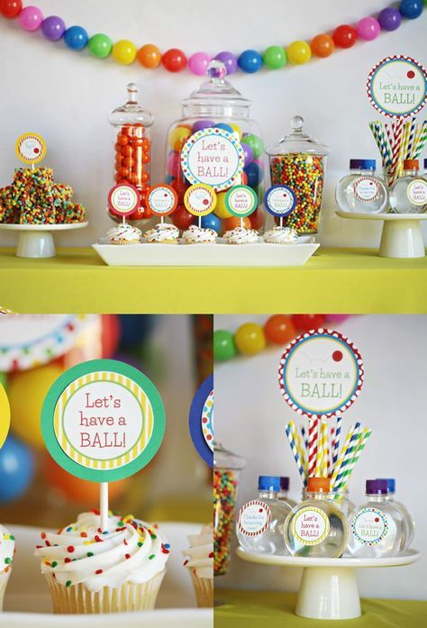 """This colorful, fun party is a must-see! """"Let's have a ball!"""" birthday party..."""