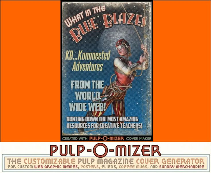 Super cool! PULP-O-MIZER Create your own Pulp Magazine Cover Lots of customizations can be made (text, backgrounds, images). No registration required. Kids will love creating covers to go along with their stories, poems, projects, etc.