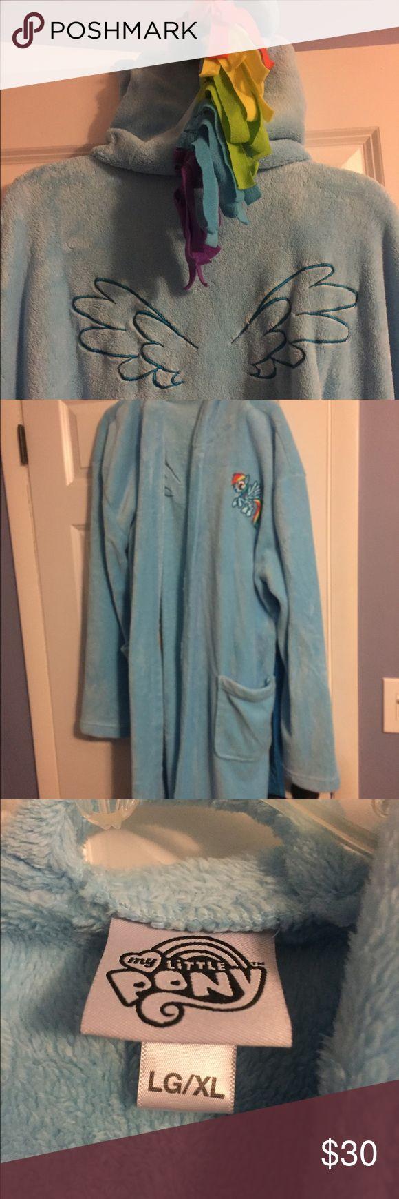 Hot topic my little pony bath robe Gently used, smoke free home, super fun bathrobe !!! Long XL blue bathrobe. The hood is my little pony!! :) Hot Topic Intimates & Sleepwear Robes