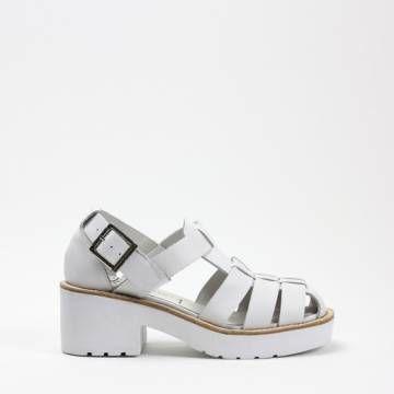 JEFFREY CAMPBELL ARGO White Leather SANDALS Women