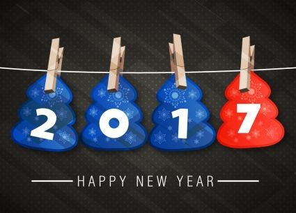 2017 new year banner with hanging numbers design