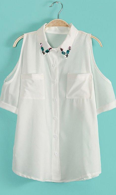 Off-the-shoulder lapel blouse 1781 White