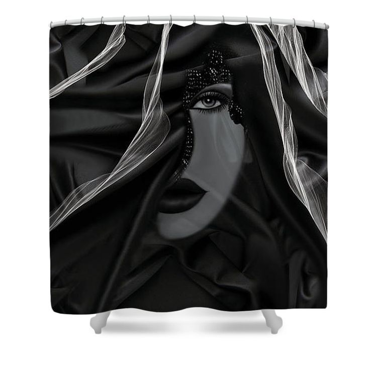 """Dark Shower Curtain by Muge Basak.  This shower curtain is made from 100% polyester fabric and includes 12 holes at the top of the curtain for simple hanging.  The total dimensions of the shower curtain are 71"""" wide x 74"""" tall."""