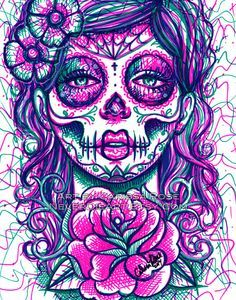 cool draw in black sharpie of skulls - Google Search