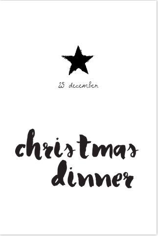 Hippe zwart wit kerstdinner menukaart met handgetekende letters en sterren. Geheel zelf aan te passen. Gratis verzending in Nederland en België.