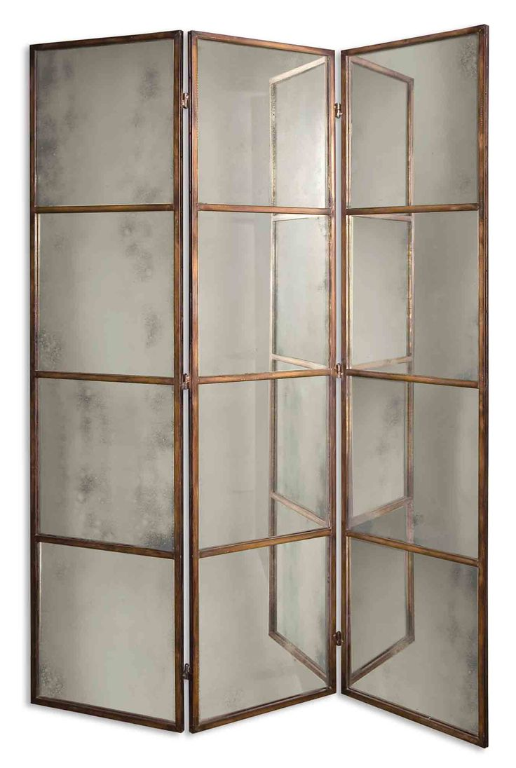 Antiqued mirror wall mirrors and mediterranean style mirrors - Uttermost Avidan 3 Panel Screen Mirror Antiqued