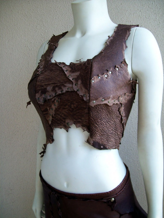 Dusty Brown Scrapwork Leather Bodice by ArchaicLeatherworks