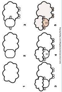Step by step drawing : learn to draw a sheep / Dessins étapes par étapes : Apprendre à dessiner un mouton