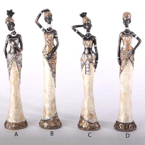 Figura africana resina, nácar/ marrón (24x4.5)