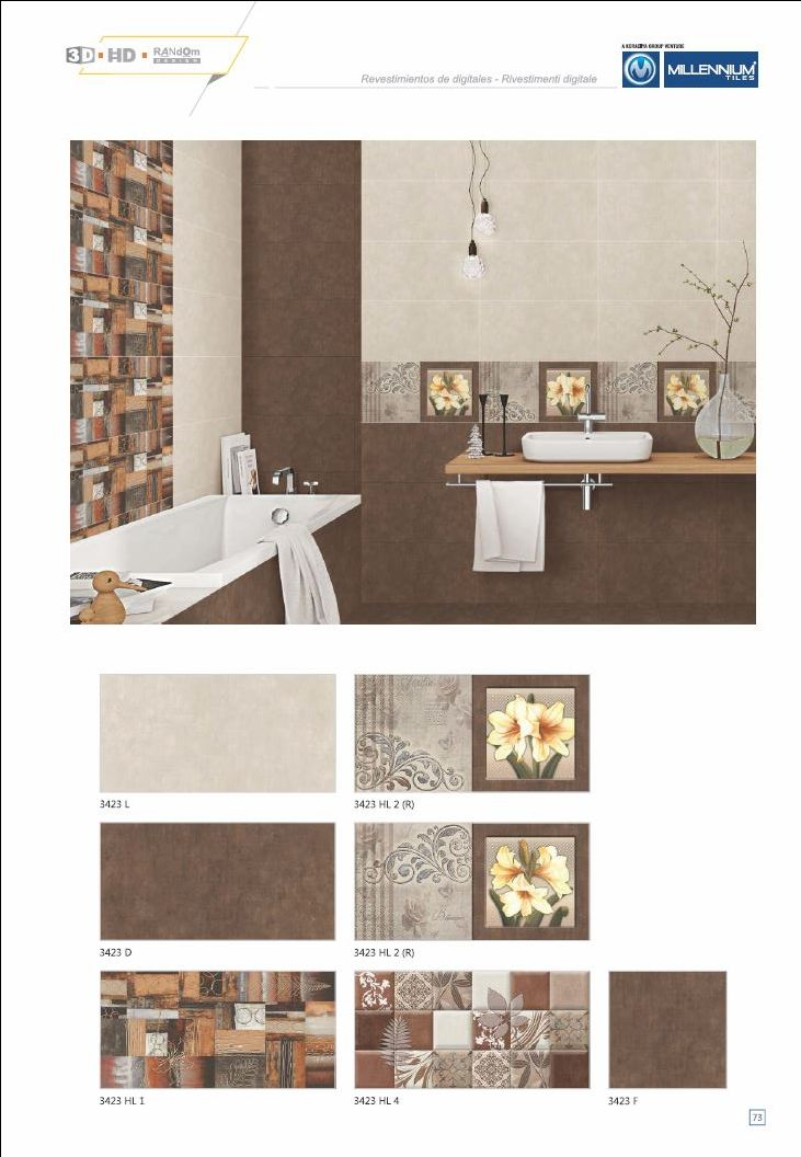 Millennium Tiles 300x600mm (12x24) Digital #Ceramic 3D High-definition #WallTiles  - 3423_L  - 3423_HL2 (R)  - 3423_D  - 3423_HL2 (R)  - 3423_HL1  - 3423_HL4  - 3423_F - 3D Technology: Our physical environment is three-dimensional and we see the world in a #3D way, you will have a feeling of depth with our 3D visual experience.  - HD Technology: High-definition technology (HDT) provides a resolution that is substantially higher that of standard-definition tiles. #interiordesign…