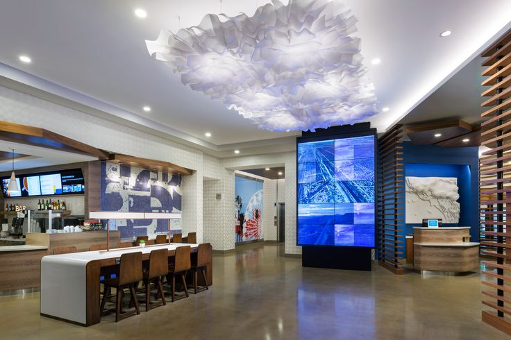 The lobby of the Courtyard Marriott Santa Monica designed by HBA Studio.