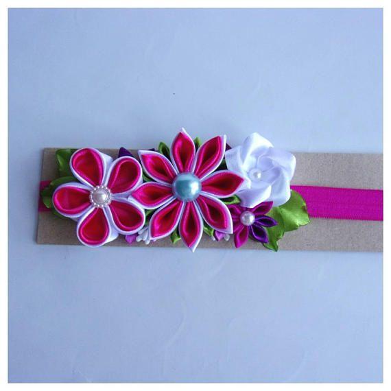 Beautiful handmade headband/ Birthday gift for little girls/Baby's headband with satin kanzashi flowers