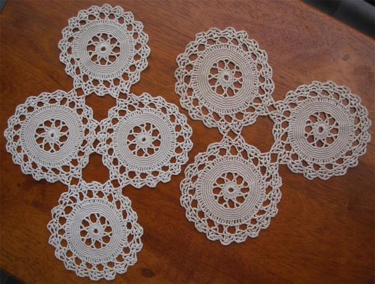 Two Vintage Hand Crochet DOILIES 25cms x 18cms 20cms x 20cms Cotton Thread in Taupe, same pattern but variaton in colour. Never Used.