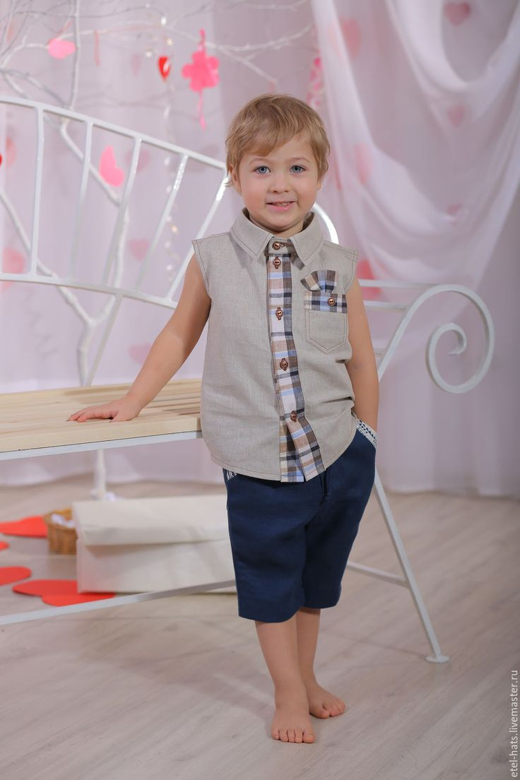 """Купить Рубашка для мальчика """"Франт"""" - одежда для детей, натуральный лен…"""