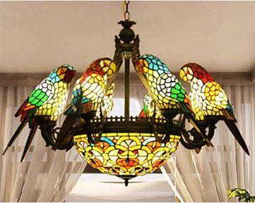 New Stained Glass Eight Parrot Chandelier, $1,692, via Stained Glass Spark.