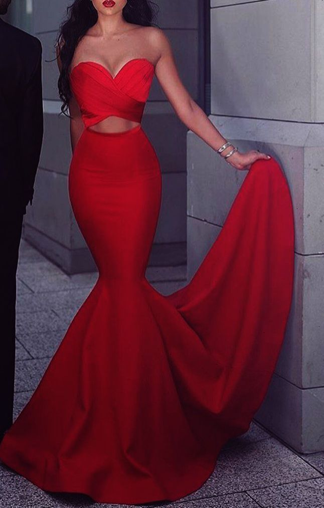 9206a501119d MACloth Mermaid Strapless Satin Long Prom Dress Red Formal Gown Cut out