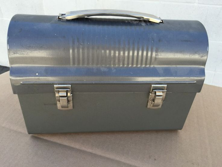 Metal Dome Top Work Mans Lunch Box Thermos GREY Vtg Job Site Workers Pail KST