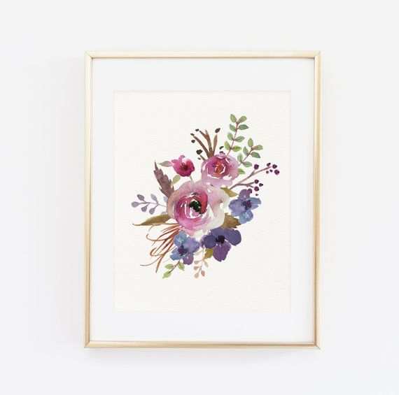 Floral Print, Blumen Wand Kunst, Floral druckbare, Floral Kinderzimmer Dekor, druckbare Wandkunst, Aquarell Blumen bedruckbar, bedruckbare Blumenkunst