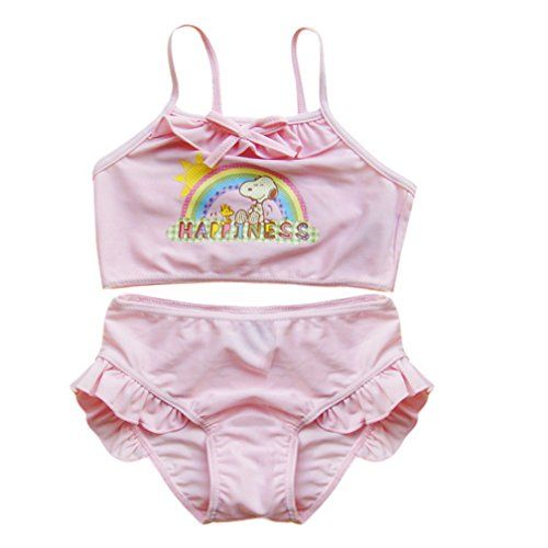 Little Girls Cute Cartoon Summer Sling Swimsuit TankiniPinkSize 4 -- Want to know more, click on the image.