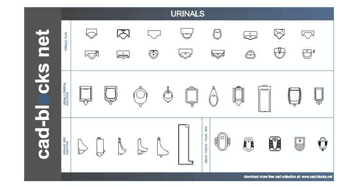 urinals and squat toilet CAD Blocks in plan, frontal and side elevation view