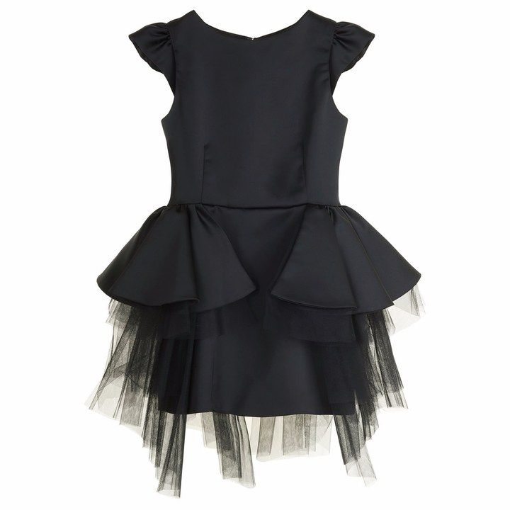 Little Wardrobe London - Black Peplum Dress
