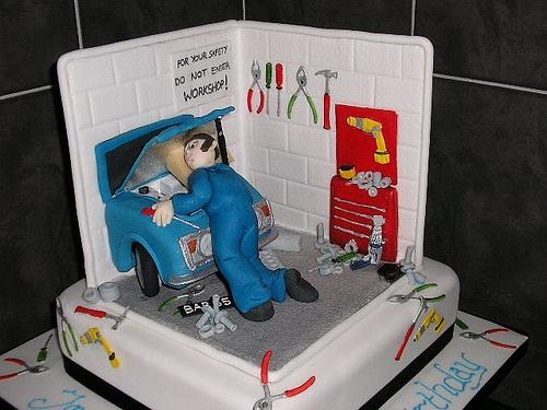 Mechanic cake for groom's cake w/truck instead of car