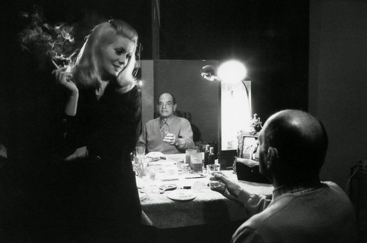 one-photo-day:  Catherine Deneuve talks with Luis Buñuel during a break in the filming of Belle de Jour by Manuel Litran