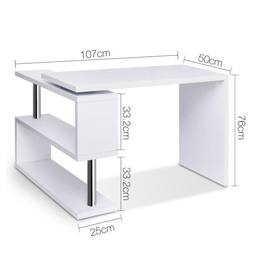 Computer Desk Corner Table w/ Rotating Bookshelf Study Student Office White More