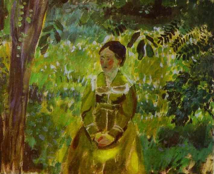 Lady in a Garden, Oil by Victor Borisov Musatov (1870-1905, Russia)