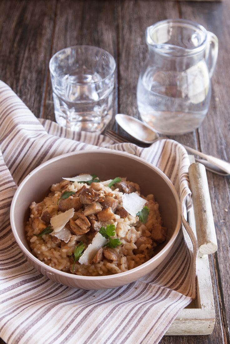 My grandma's porcini mushroom risotto, made with a vegetable herb broth, olive oil and parmesan cheese, an autumn treat for everyone!