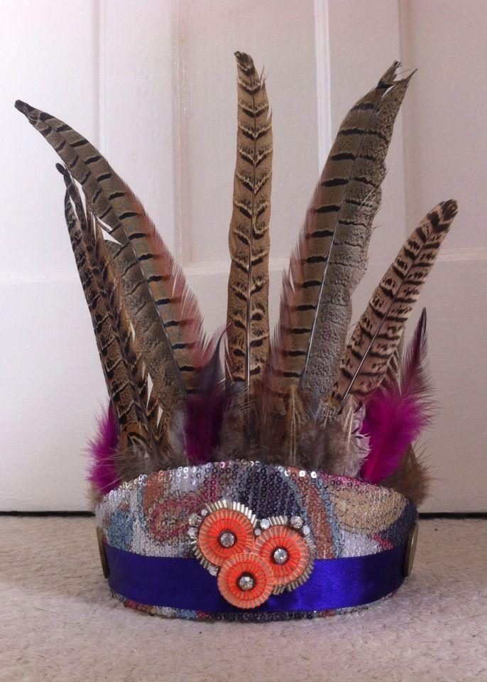 Festival Feather & Sequin Headress (glastonbury, Bestival, Secret Garden Party)