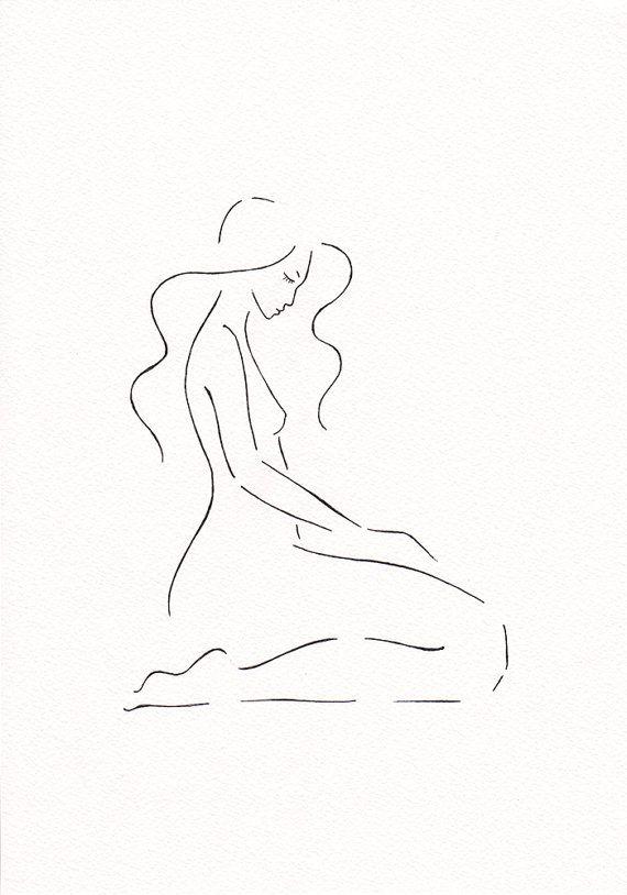 Original drawing. Cute minimalist nude sketch. Bedroom wall art by Siret Roots…