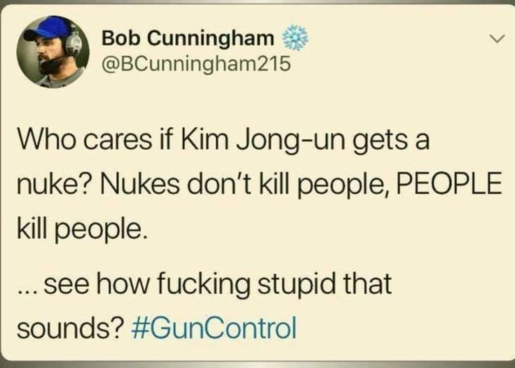 Doesn't sound stupid at all. Kim Jong-un just used the nuke to do it, but it's not like the nuke decided to kill people. Jong-un set it off.