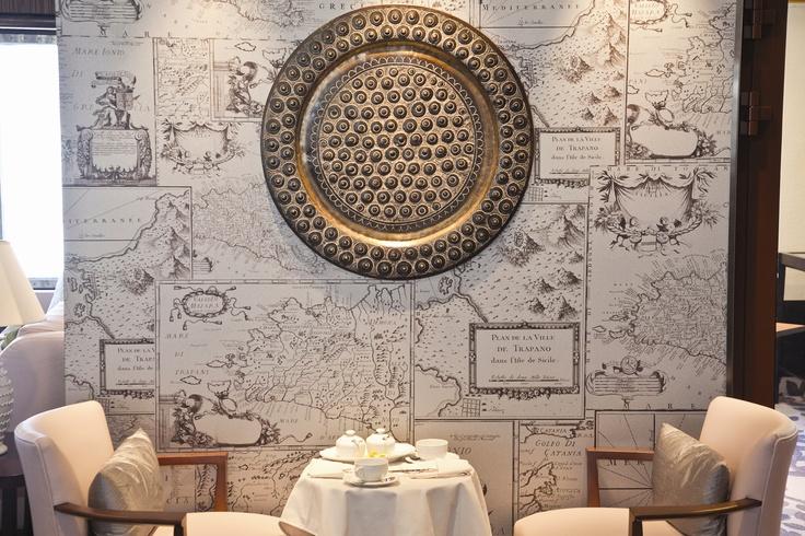 Hand made atlas wallpaper on-board Saga Sapphire  #interiors #design #cruise #travel