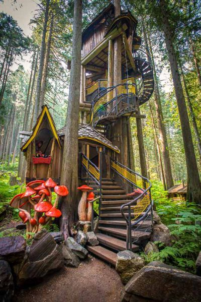 Kids activities and family activities near Kamloops, BC, Canada. 350+ fairy tale figurines, structures and BC's tallest tree house! Interpretive nature walk, paddle boat and seasonal salmon run. BC attractions for all the family!