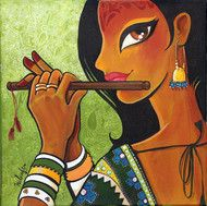 Check out in Painting in Acrylic  Ink on Canvas by Niloufer Wadia of price Rs.16000 (15 X 15 Inches)  A beauty plays the flute and looks over her shoulder. Can be sold stretched within India. http://www.mojarto.com/niloufer-wadia/forest-music-158137