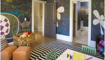 Einrichtungsidee für Mutige: Tafelfarbe für alle Wände im Kinderzimmer