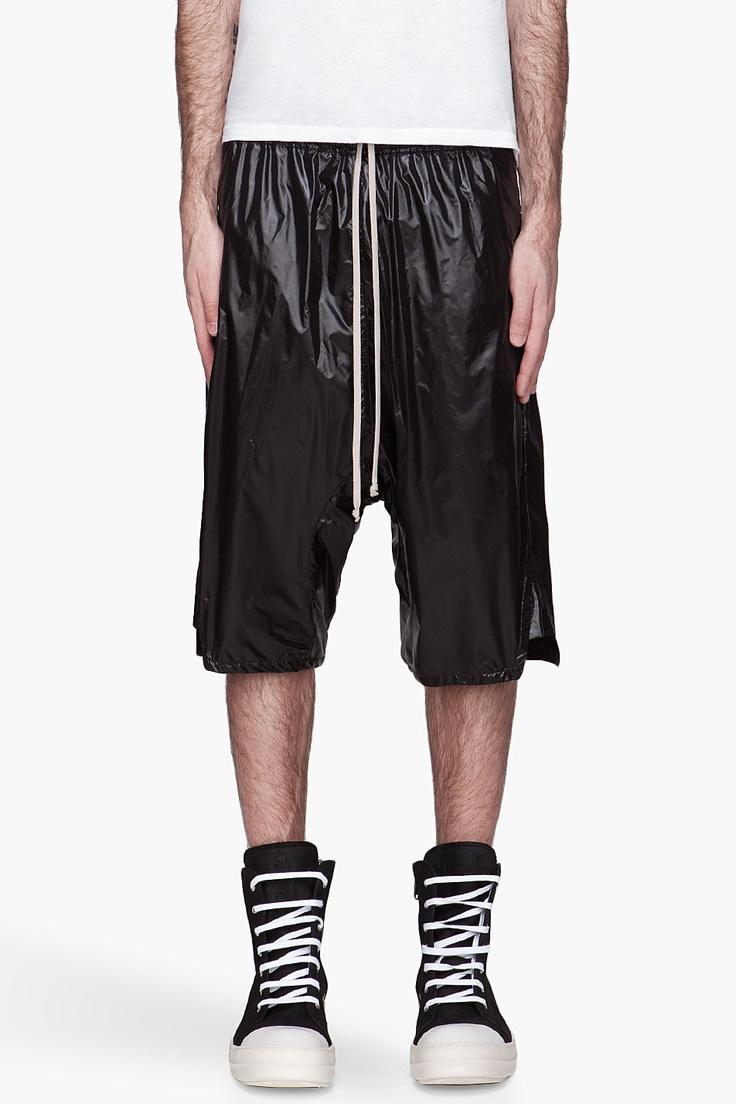RICK OWENS Black high-gloss Basket Swinger shorts