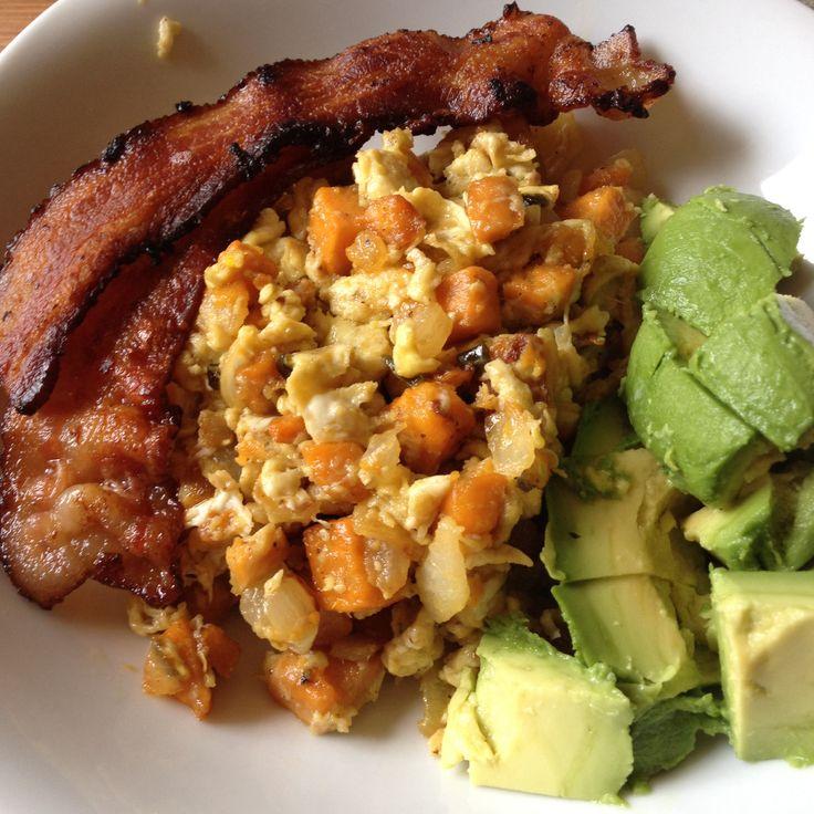 - sweet potato, onion, jalapeno, and egg hash with bacon and avocado ...