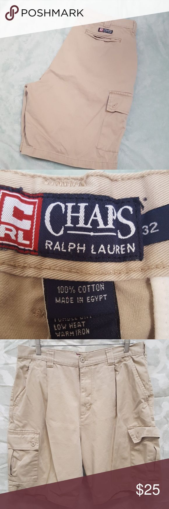 CHAPS RALPH LAUREN MEN'S KHAKI CARGO SHORTS For sale is a used pair of Mens Chaps Ralph Lauren cargo khaki shorts. they are a mens waist size 34   Shorts are in good condition for age. Normal wear  Offers welcomed using offer button.   NO TRADES.  NO LOWBALLING. Chaps Ralph Lauren Shorts Cargo